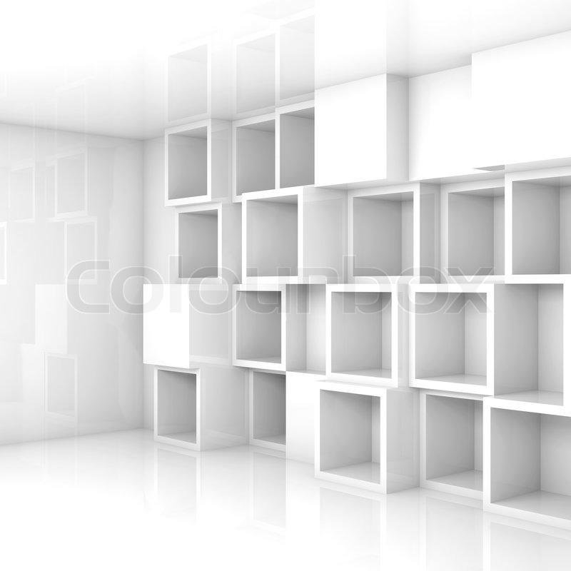 kuber i vitt rum
